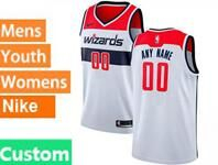 Mens Womens Youth Nba Washington Wizards Custom Made White Swingman Nike Jersey