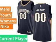 Mens Womens Youth 2017-18 Nba New Orleans Pelicans Current Player Dark Blue Jerseys