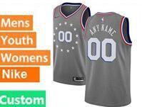 Mens Womens Youth 2018-19 Nba Philadelphia 76ers Custom Made Gray Nike City Edition Jersey