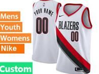 Mens Womens Youth Nba Portland Trail Blazers Custom Made White Nike Jersey