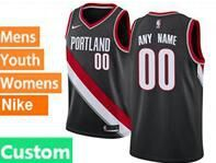 Mens Womens Youth Nba Portland Trail Blazers Custom Made Black Nike Jersey