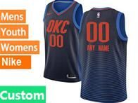 Mens Womens Youth 2017-18 Nba Oklahoma City Thunder Custom Made Blue Nike Swingman Jersey
