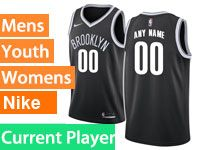 Mens Women Youth Nba Brooklyn Nets Current Player Nike Icon Edition Black Jersey