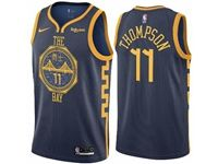 Mens 2018-19 Nba Golden State Warriors #11 Klay Thompson Dark Blue City Edition Swingman Nike Jerseys