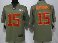 Mens Nfl Kansas City Chiefs #15 Patrick Mahomes Green Olive Salute To Service Limited Nike Jersey