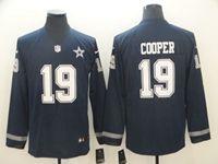Mens Dallas Cowboys #19 Amari Cooper Blue Nike Therma Long Sleeve Jersey