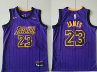 Youth Nba Los Angeles Lakers #23 Lebron James Purple Nike 2019 City Edition Jersey