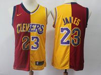 Mens Nba Cleveland Cavaliers #23 Lebron James Nike Split Yellow&red Jersey