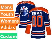 Mens Women Youth Adidas Nhl Edmonton Oilers Custom Made Royal Blue  Alternate Jersey