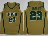 Mens Ncaa Nba Notre Dame Fighting Irish #23 Lebron James (irish) Yellow Jersey