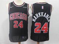 Mens Nba Chicago Bulls #24 Lauri Markkanen Bulls Black Nike Swingman Jersey