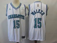 Mens Nba Charlotte Hornets #15 Kemba Walker Charlotte White Stripe Jordan Jersey