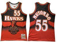 Mens Nba Atlanta Hawks #55 Dikembe Mutombo Black Orange Mitchell&ness Hardwood Classics Swingman Jersey