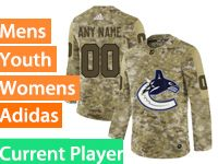 Mens Women Youth Adidas Vancouver Canucks Current Player Camo Jersey
