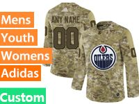 Mens Women Youth Adidas Edmonton Oilers Custom Made Camo Jersey