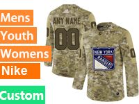 Mens Women Youth Adidas New York Rangers Custom Made Camo Jersey