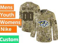Mens Women Youth Adidas Nhl Nashville Predators Custom Made Camo Jersey