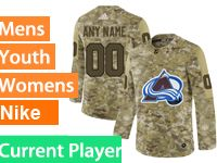 Mens Women Youth Adidas Colorado Avalanche Current Player Camo Jersey