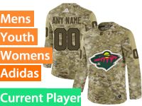 Mens Women Youth Adidas Minnesota Wild Current Player Camo Jersey