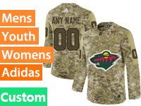Mens Women Youth Adidas Nhl Minnesota Wild Custom Made Camo Jersey