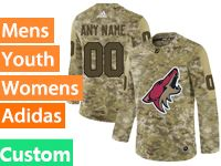 Mens Women Youth Adidas Arizona Coyotes Custom Made Camo Jersey