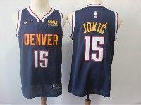 Mens Nba Nike Denver Nuggets #15 Nikola Jokic Dark Blue With Red Basketball Jersey