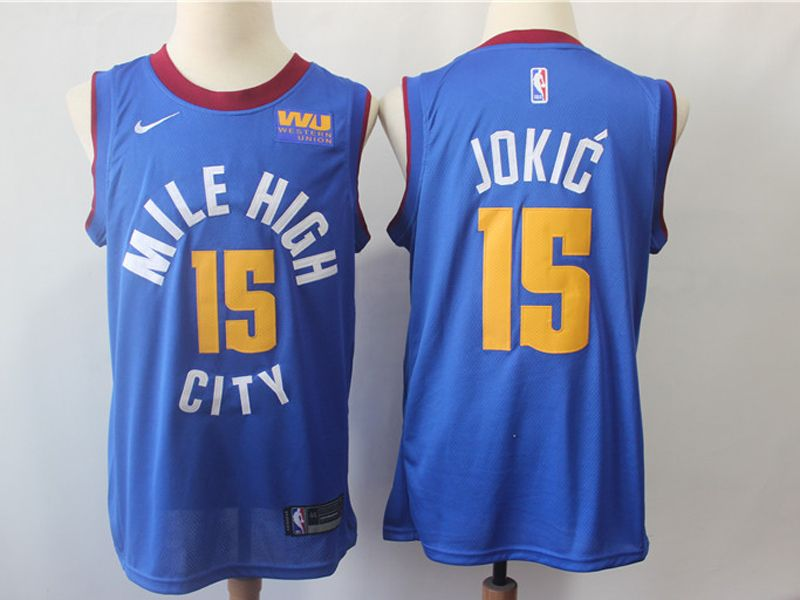 Mens Nba Nike Denver Nuggets #15 Nikola Jokic Light Blue Mile High City Basketball Jersey