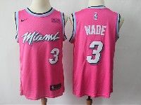 Mens Nba Miami Heat #3 Dwyane Wade Pink Earned Edition Nike Swingman Jersey