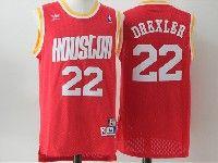 Mens Nba Houston Rockets #22 Drexler Red Adidas Hardwood Classics Throwback Jersesy