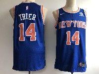 New Mens Nba New York Knicks #14 Allonzo Trier Blue Icon Edition Swingman Nike Jersey