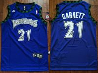 Mens Nba Minnesota Timberwolves #21 Kevin Garnett Dark Blue Throwbacks Jersey