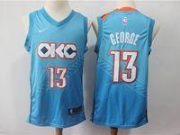 Mens 2018-19 Nba Oklahoma City Thunder #13 Paul George Sky Blue City Edition Swingman Jersey