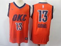 Mens Nba Oklahoma City Thunder #13 Paul George Orange Swingman Nike Earned Edition Jersey