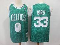 Mens Nba Boston Celtics Bathing Ape #33 Larry Bird Green Printing Jersey
