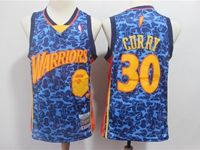 Mens Nba Golden State Warriors #30 Stephen Curry Blue Printing Jersey