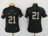 Women Youth Nfl Dallas Cowboys #21 Ezekiel Elliott Black Camo Number Salute To Service Limited Jersey