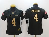 Women Nfl Dallas Cowboys #4 Dak Prescott Black Gold Number Salute To Service Limited Jersey