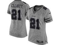 Women Dallas Cowboys #21 Ezekiel Elliott Heather Gray Limited Jersey