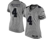 Women Dallas Cowboys #4 Dak Prescott Heather Gray Limited Jersey