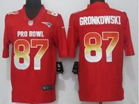 Mens New England Patriots #87 Rob Gronkowski Red 2019 Pro Bowl Nike Royal Limited Jersey