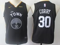 Youth Nba Golden State Warriors #30 Stephen Curry Nike 2018-19 Black Earned Edition Swingman Jersey