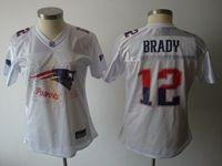 Women New England Patriots #12 Tom Brady White Fashion Elite Jersey