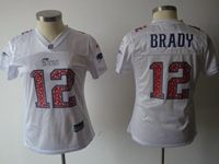 Women New England Patriots #12 Tom Brady White Elite Jersey Spots On The Number