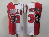 Mens Nba Chicago Bulls #33 Scottie Pippen Red And White  Mitchell&ness Jersey
