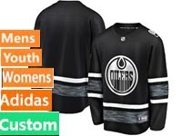 Mens Women Youth Adidas Edmonton Oilers Black Custom Made 2019 All Star Jersey