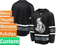 Mens Women Youth Adidas Ottawa Senators Black Custom Made 2019 All Star Jersey