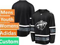 Mens Women Youth Adidas Nhl Minnesota Wild Black Custom Made 2019 All Star Jersey