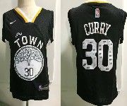 Kids Nba Nike Golden State Warriors #30 Stephen Curry 2018-19 Black Earned Edition Swingman Jersey