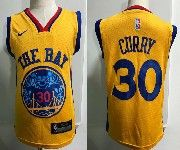 Kids Nba Nike Golden State Warriors #30 Stephen Curry Gold City Edition Swingman Jersey