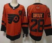 Mens Philadelphia Flyers #28 Claude Giroux Orange 2019 Stadium Series Adidas Jersey